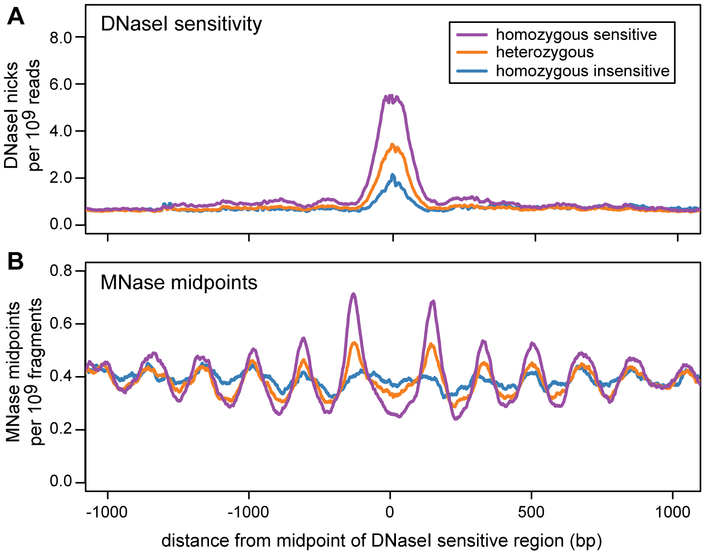Nucleosome organization in regions with an association between DNase I sensitivity and genotype (dsQTLs).