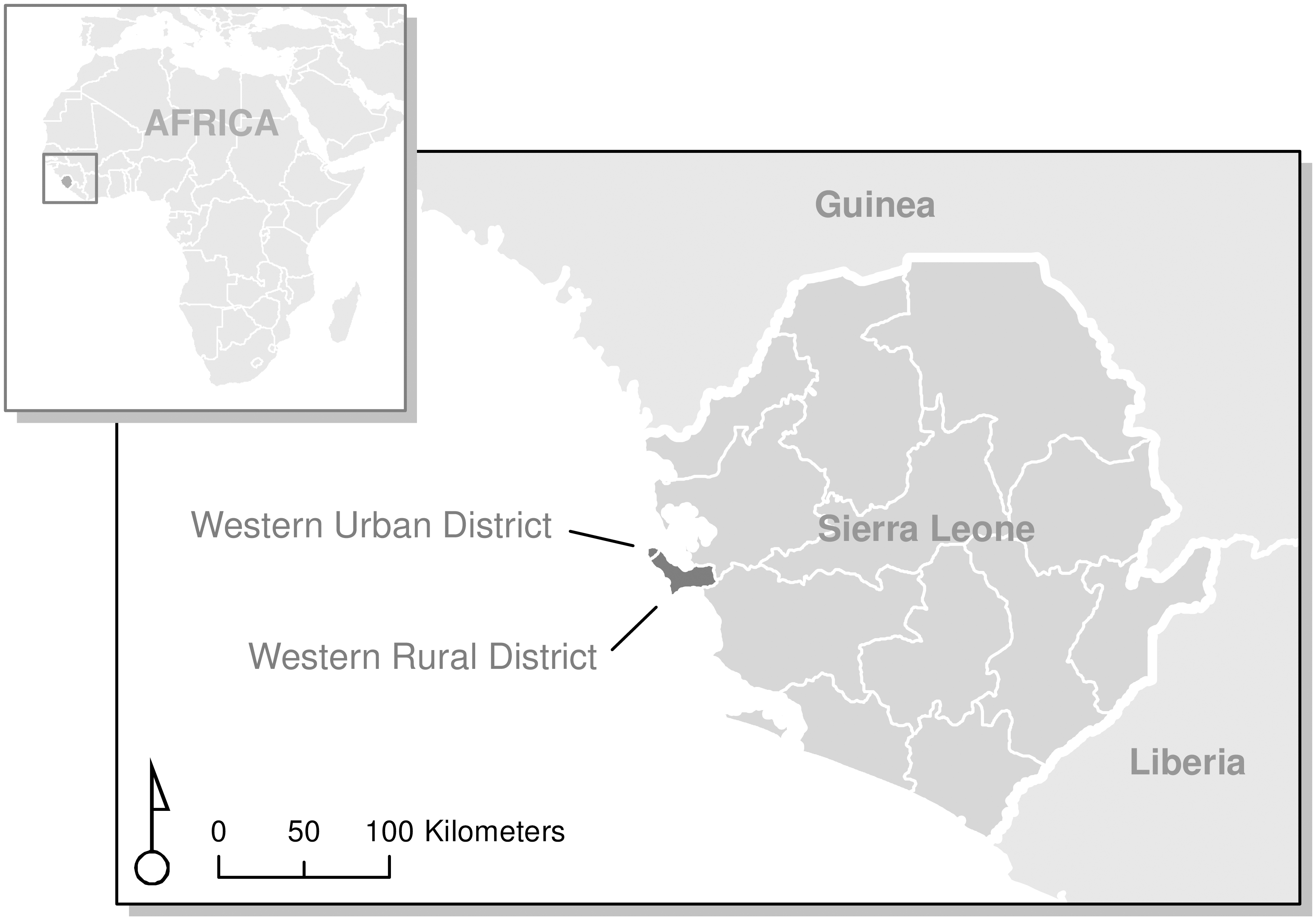 Sampled districts (Western Urban and Western Rural) in Sierra Leone.