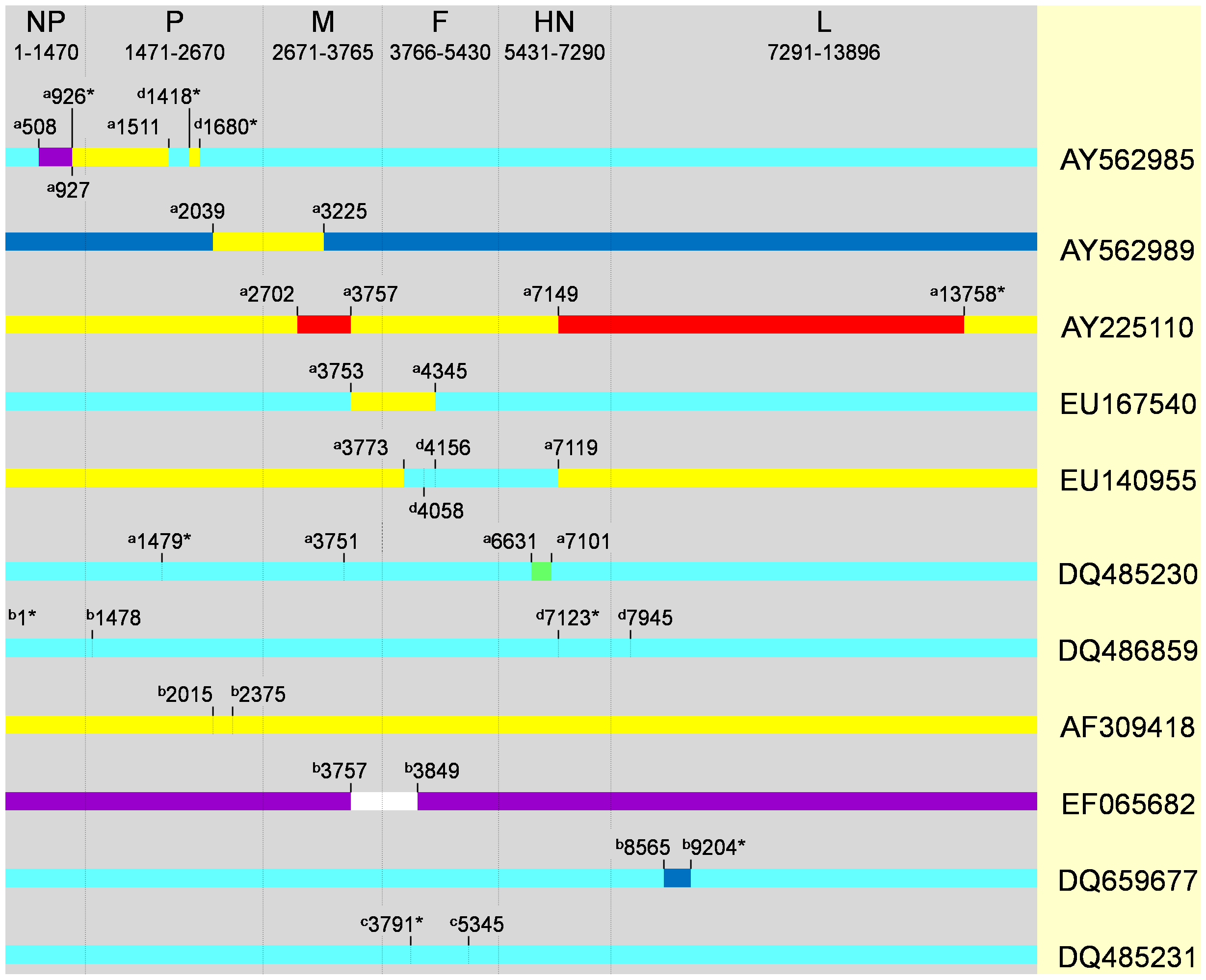 Recombination breakpoint map of eleven isolates detected by different methods implemented in RDP3 program.