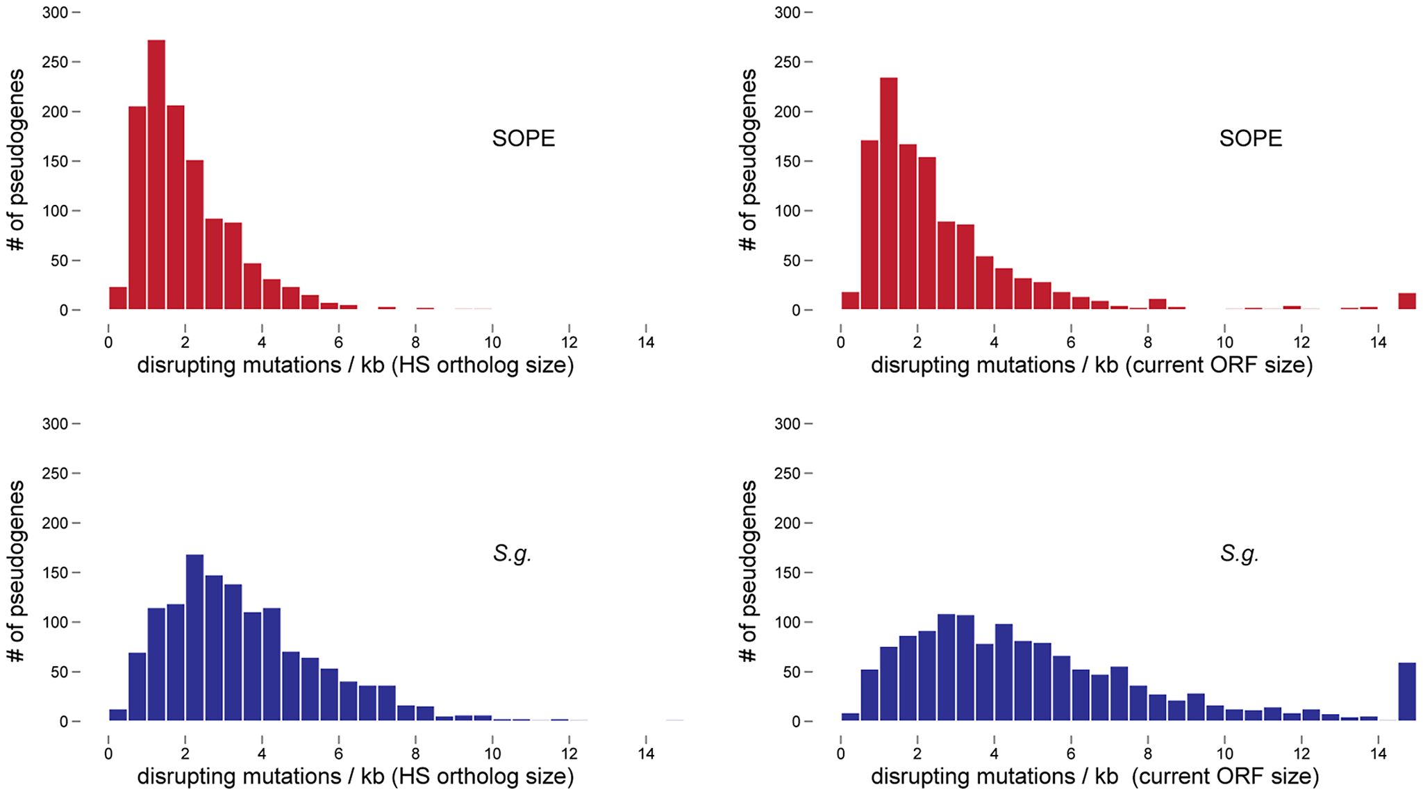 Densities of disrupting mutations in SOPE and <i>S. glossinidius</i> pseudogenes.