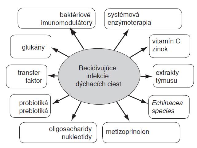 Schéma 1. Možnosti imunomodulácie pri recidivujúcich infekciách dýchacích ciest v detskom veku.