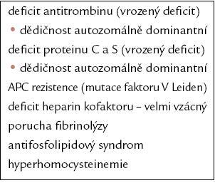 Trombofilní rizikové faktory [6].