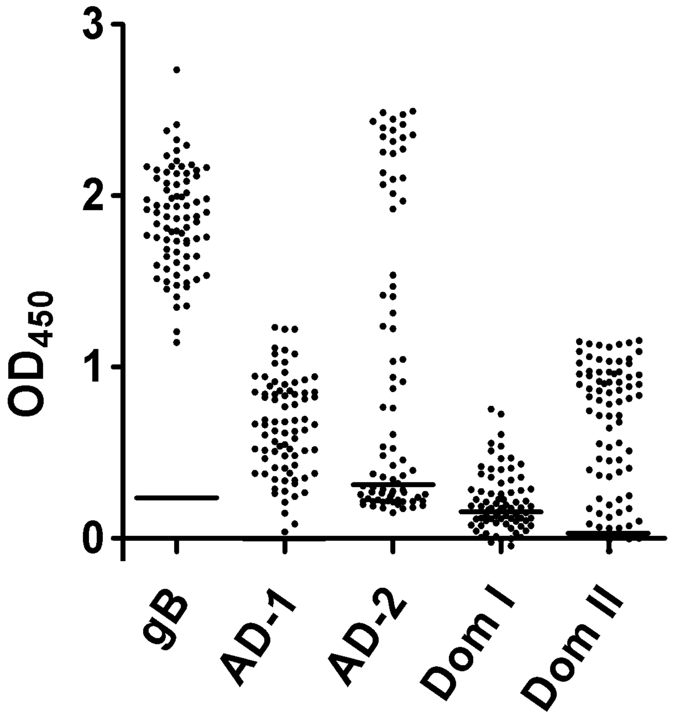 Recognition of the antigenic domains of gB by human sera.