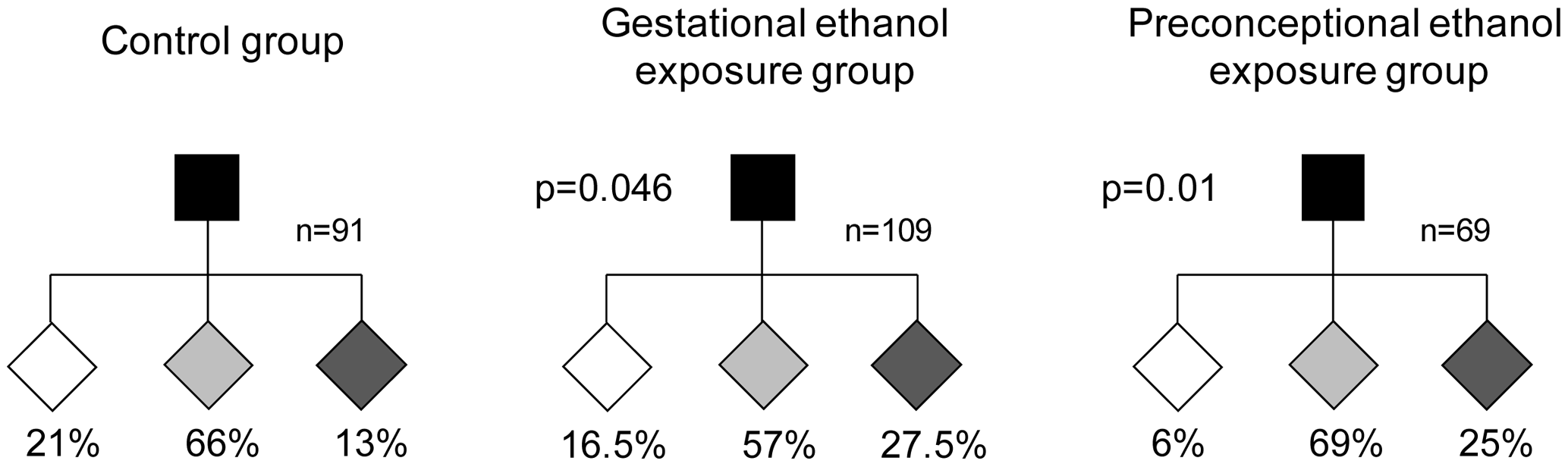 Gestational and preconceptional ethanol exposure produced a higher proportion of pseudoagouti <i>A<sup>vy</sup></i> mice.