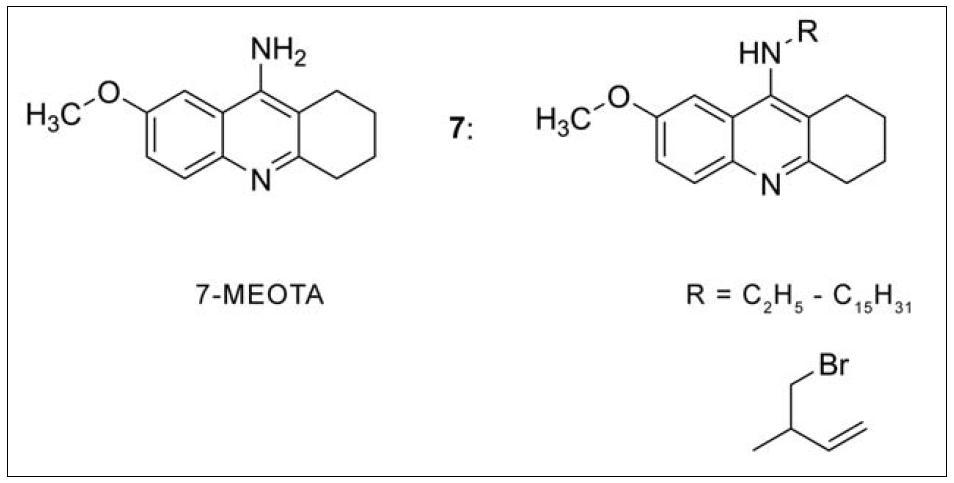 7-MEOTA a nově připravené deriváty substitucí v poloze 9 základního skeletu