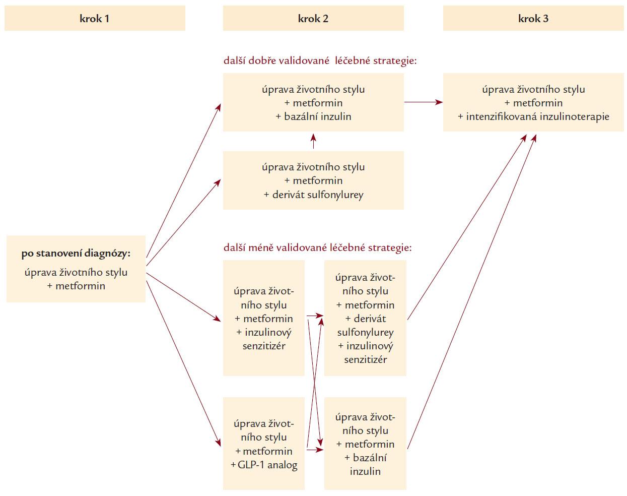 Algoritmus léčby diabetu 2. typu (Konsenzus Americké a Evropské diabetologické společnosti) [22]. Nedojde-li během 3 měsíců k dosažená HbA<sub>1c</sub> pod 5 %, přistoupíme k některé další alternativě léčby podle některé z šipek. Metformin vynecháme, není-li snášen nebo je-li kontraindikován.