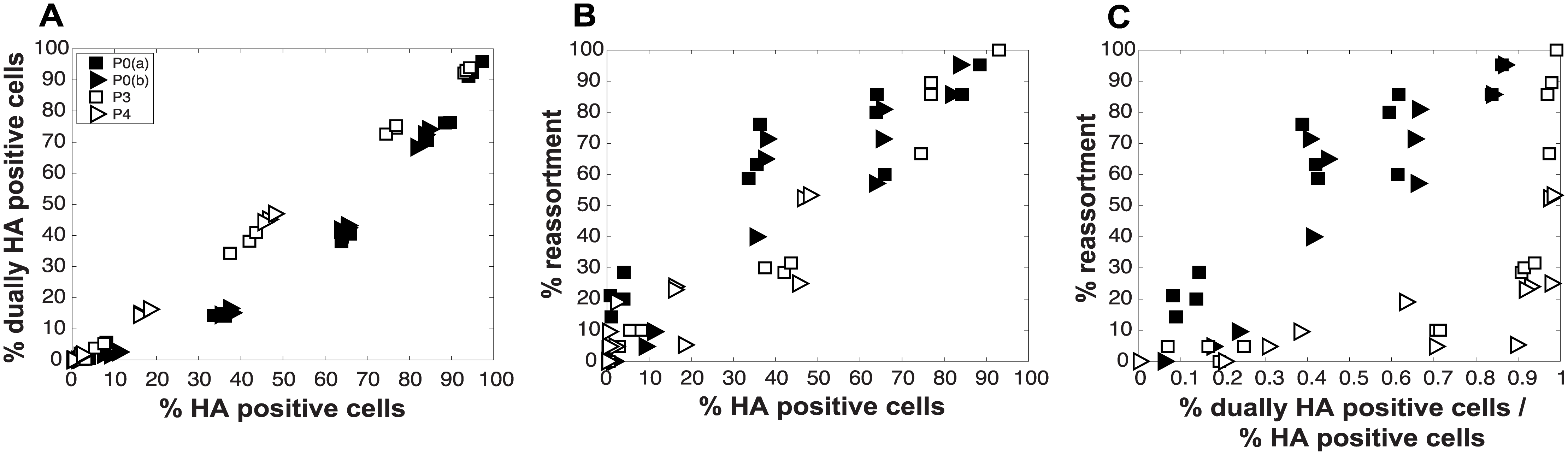 Virus populations dominated by DI particles give rise to a higher proportion of dually HA positive cells but a lower proportion of reassortant progeny viruses compared to virus populations with low DI content.