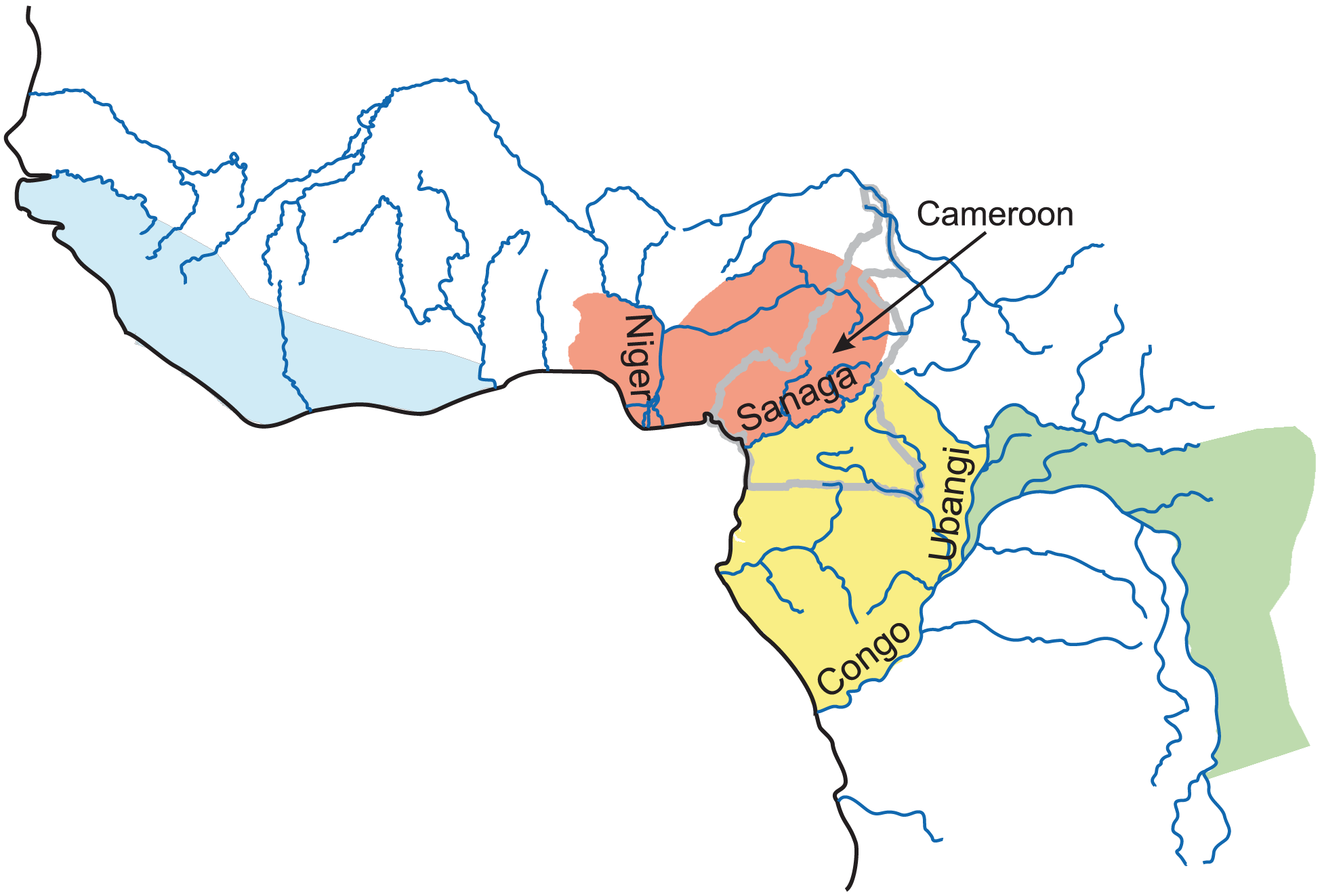 Map of the geographic distribution of four populations of common chimpanzee.