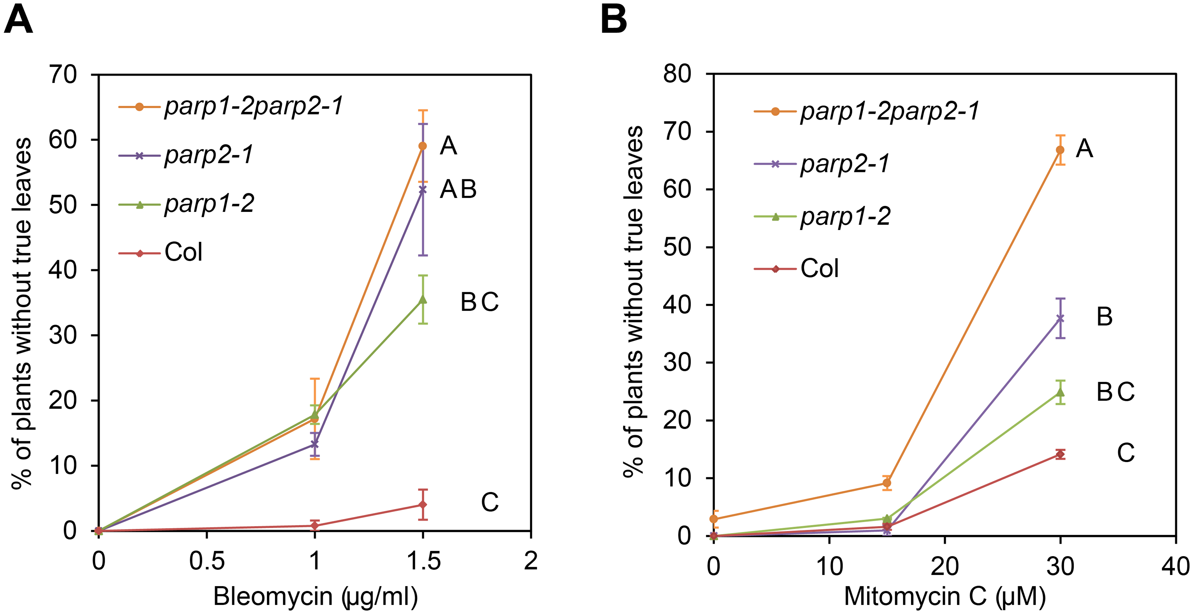 Arabidopsis <i>parp</i> mutants are hypersensitive to DNA damage agents.