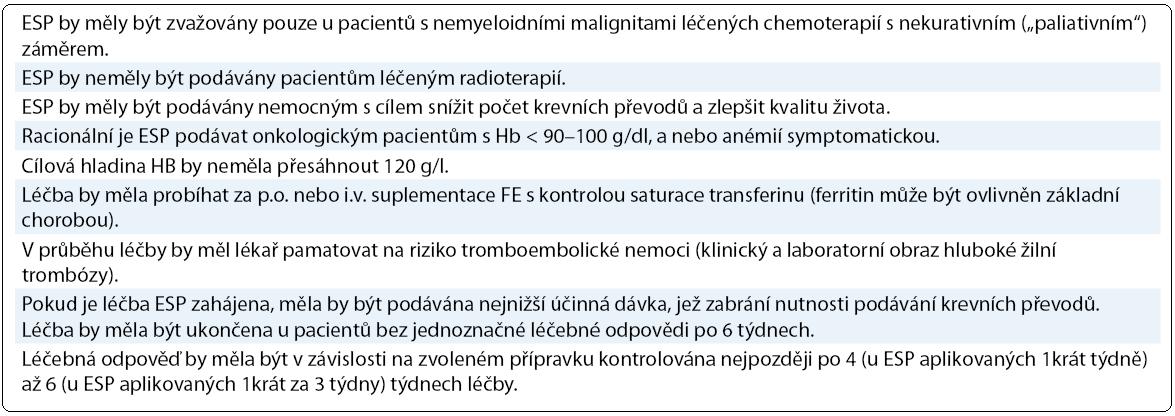 Doporučení ČOS pro rok 2012 pro léčbu ESP [1,2].