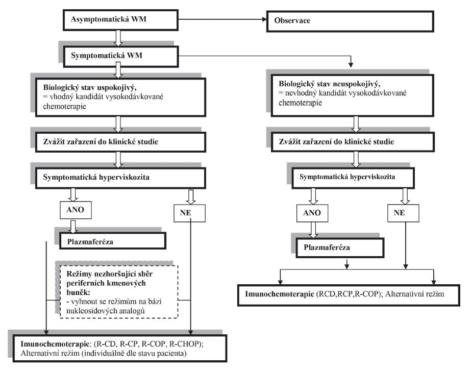 Schéma 1. Primoléčba Waldenströmovy makroglobulinemie.