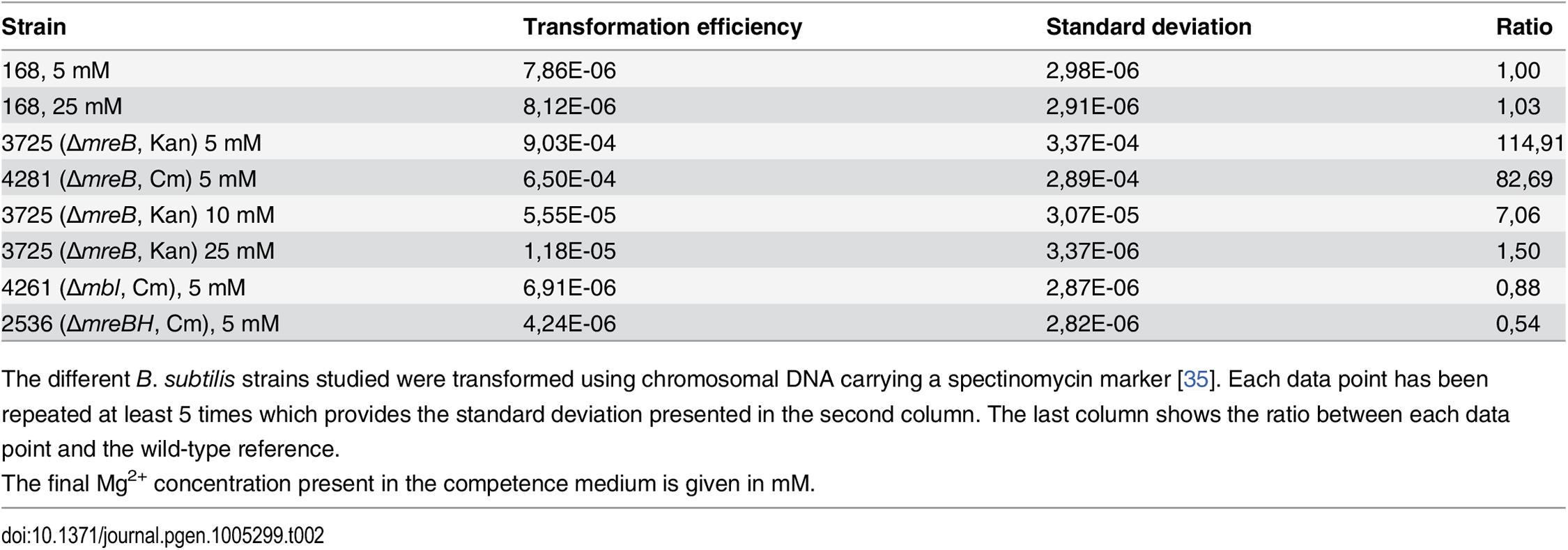 Transformation efficiencies.