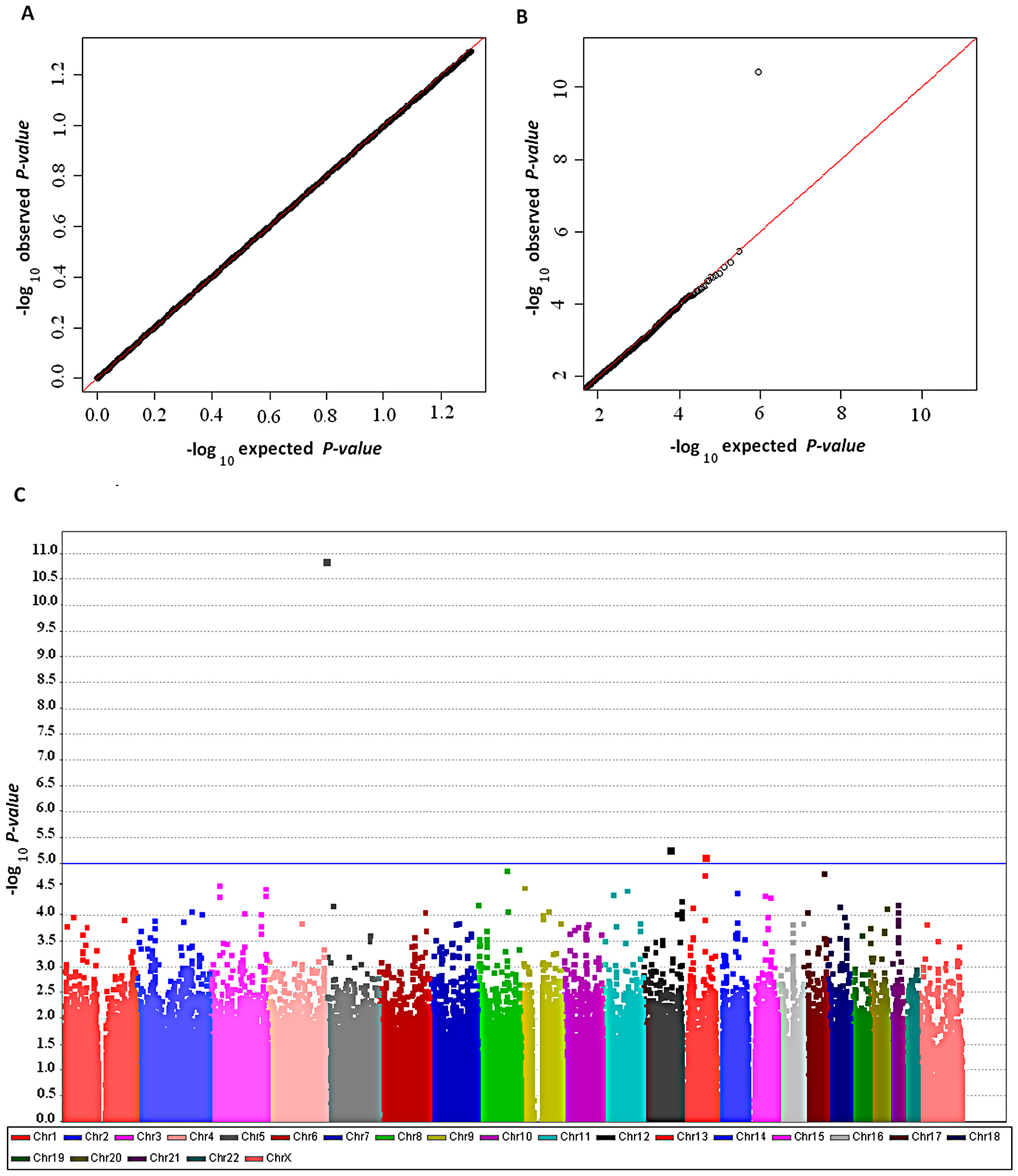 Genome-wide association results in the GELAC study.