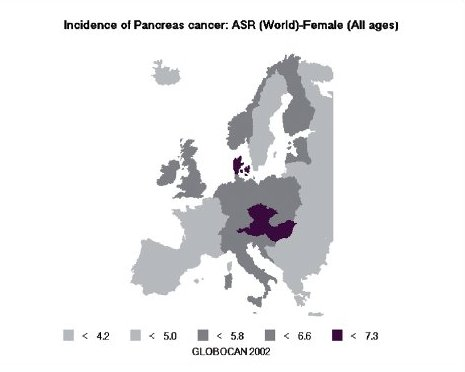 Odhad výskytu karcinomu slinivky břišní v Evropě, ženy (zdroj: GLOBOCAN 2002, IARC).
