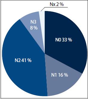 Procentuální rozložení výskytu stadia regionálního uzlinového postižení (N).