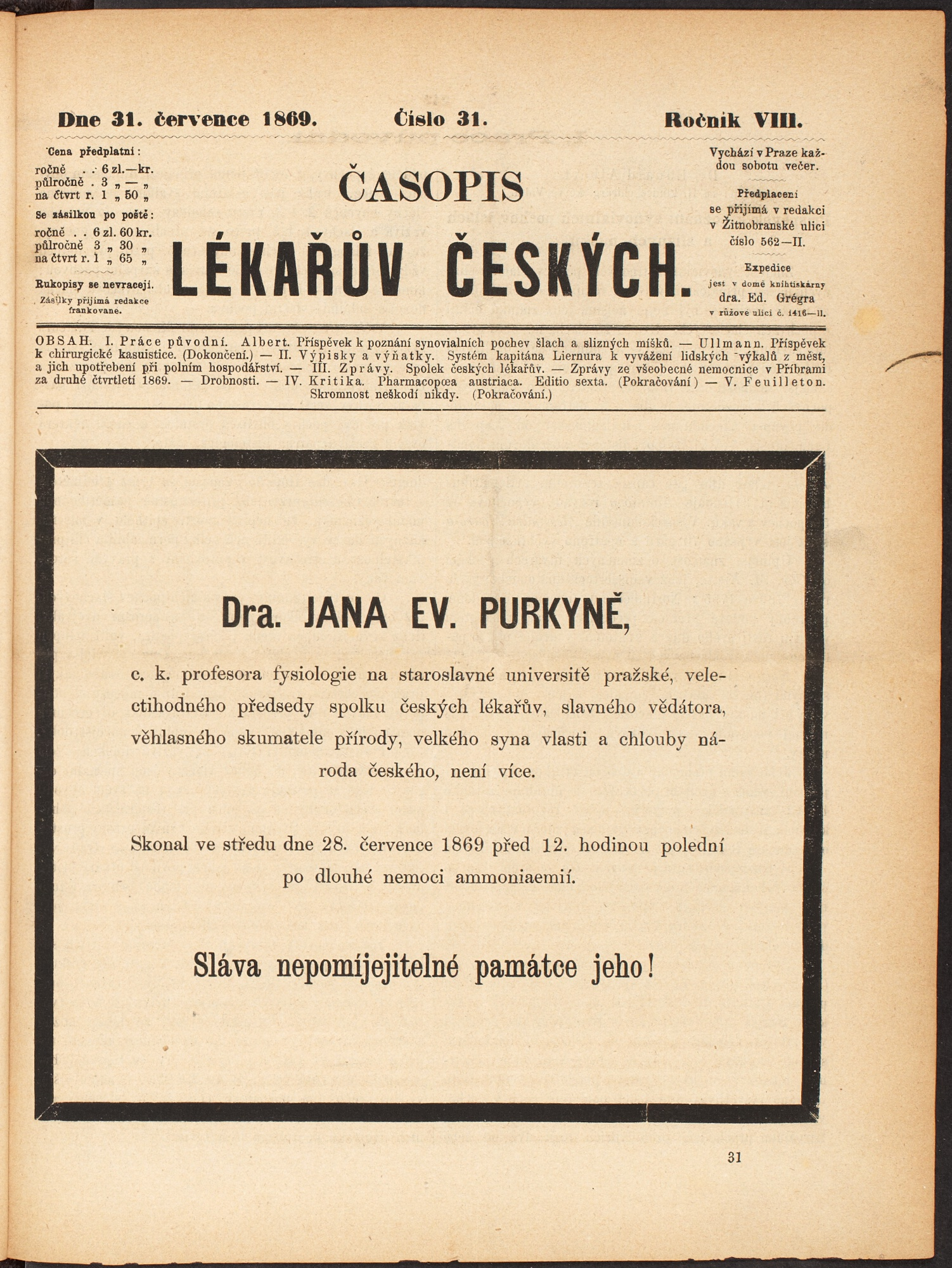 Oznámení o skonu J. E. Purkyně na titulní straně ČLČ v červenci 1869