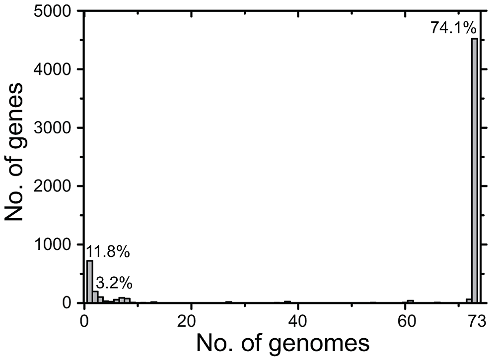 Number of CDSs <i>versus</i> number of genomes in which they were present.