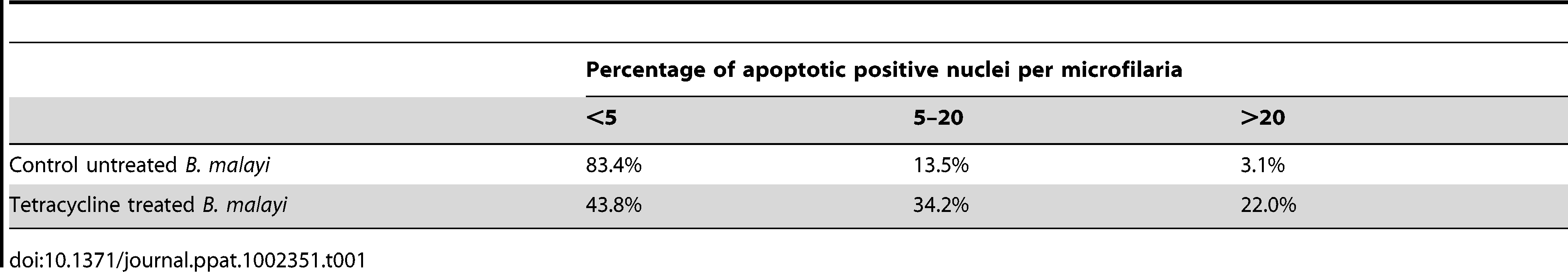 Percentage of <i>B. malayi</i> microfilariae showing different levels of apoptotic positive nuclei.