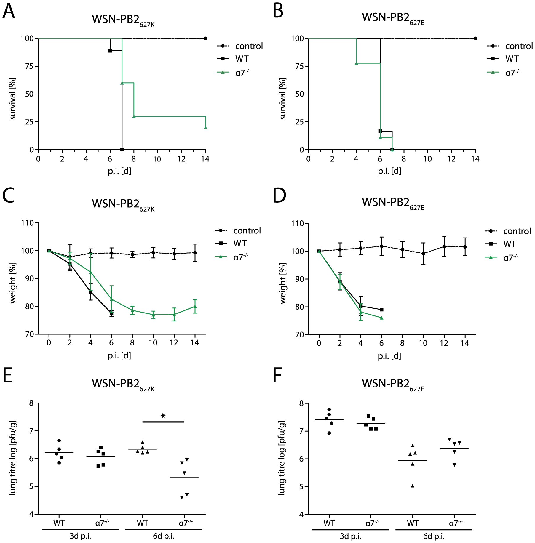 Importin-α7<sup>−/−</sup> mice are less susceptible to human- but not avian-like virus infection.