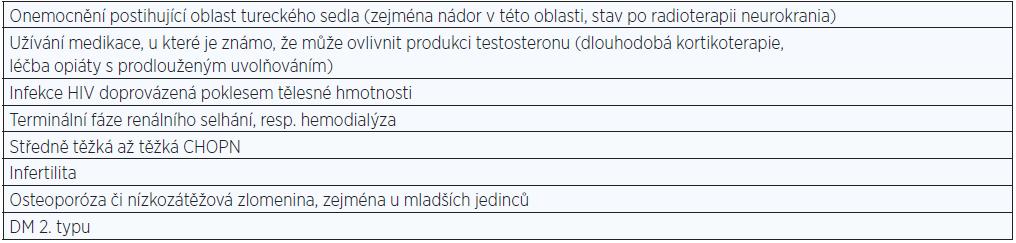 Stavy spojené s vysokou prevalencí nízkého testosteronu a ve kterých je doporučeno provést stanovení sérového testosteronu.