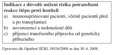 Indikace ozářených erytrocytárních koncentrátů.