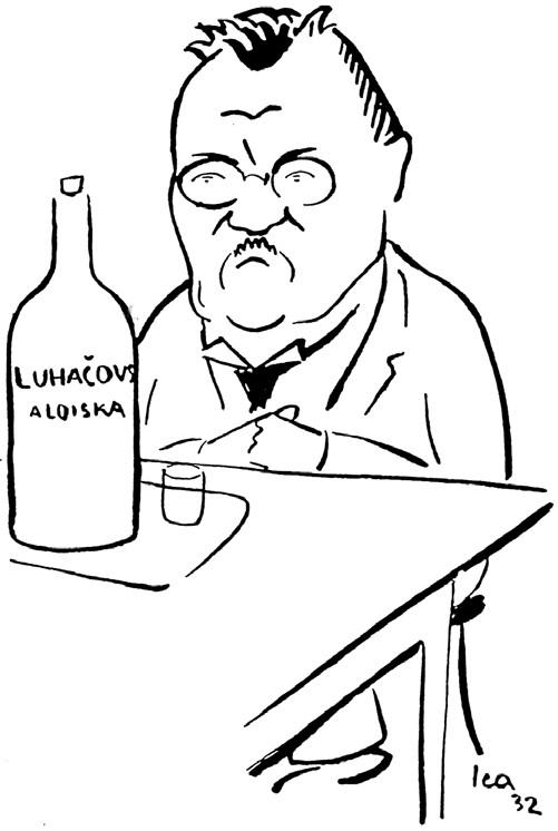 """Karikatura prof. Ningera demonstrující jeho vztah k """"luhačovickým pramenům""""."""