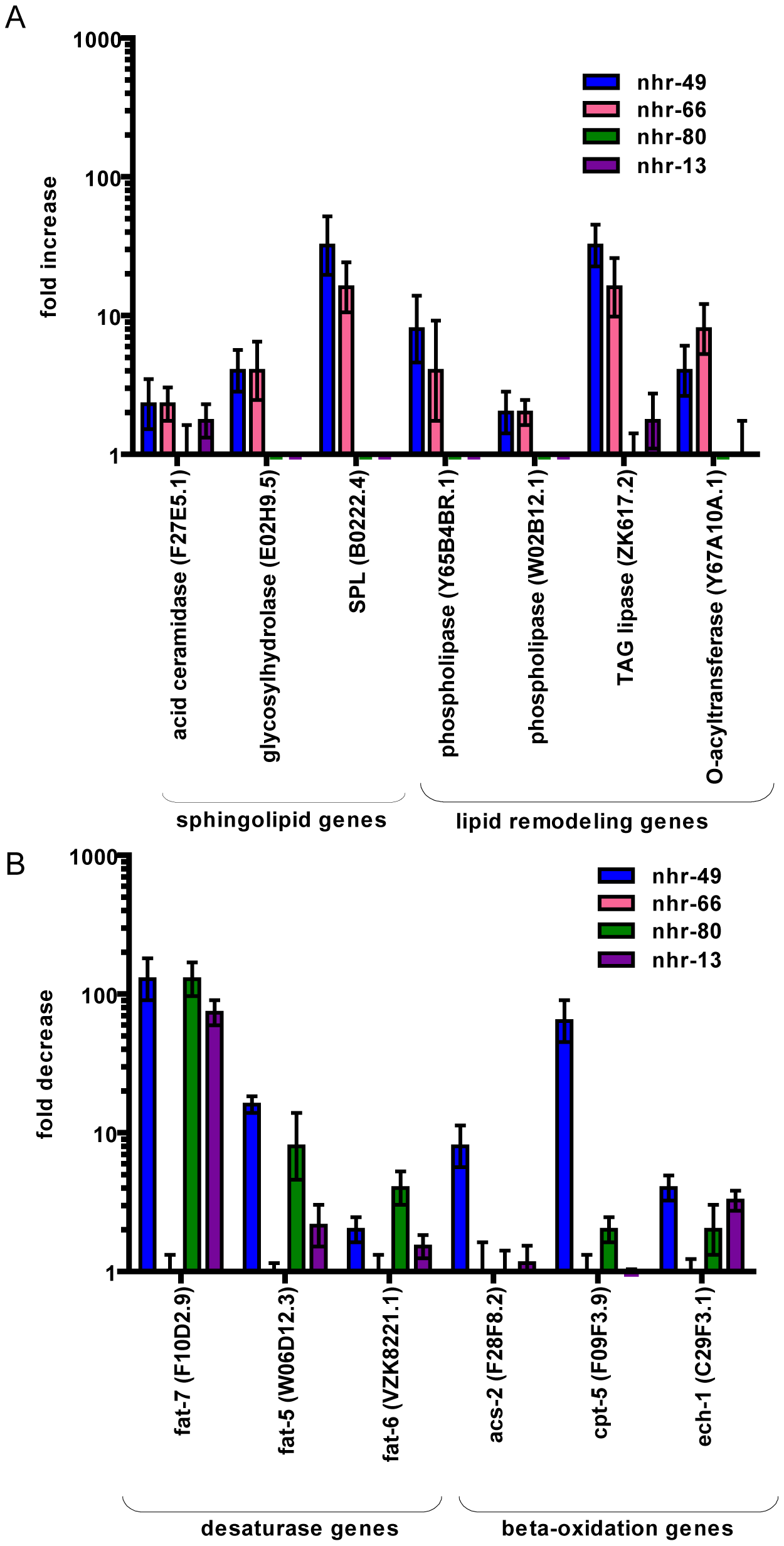 NHR-49 collaborates with NHR-66 to regulate sphingolipid and lipid remodeling genes and with NHR-80 and NHR-13 to regulate fatty acid desaturase genes.