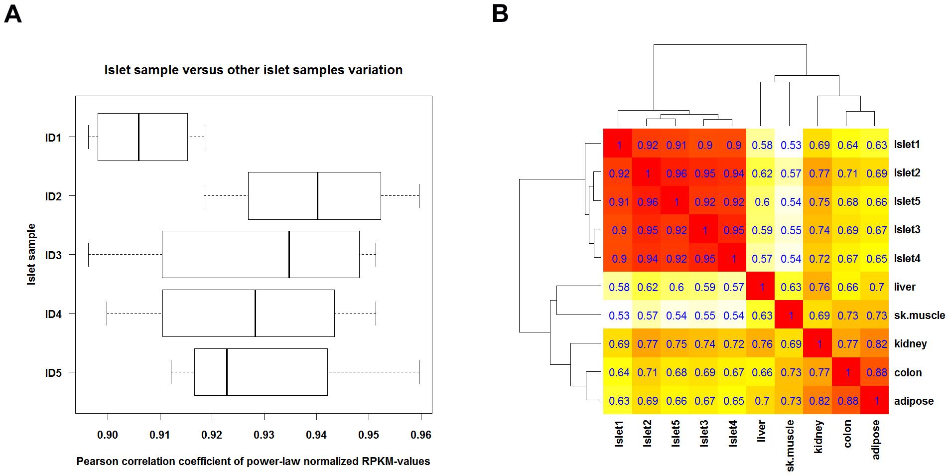 Correlation between RNA-seq gene expression levels.