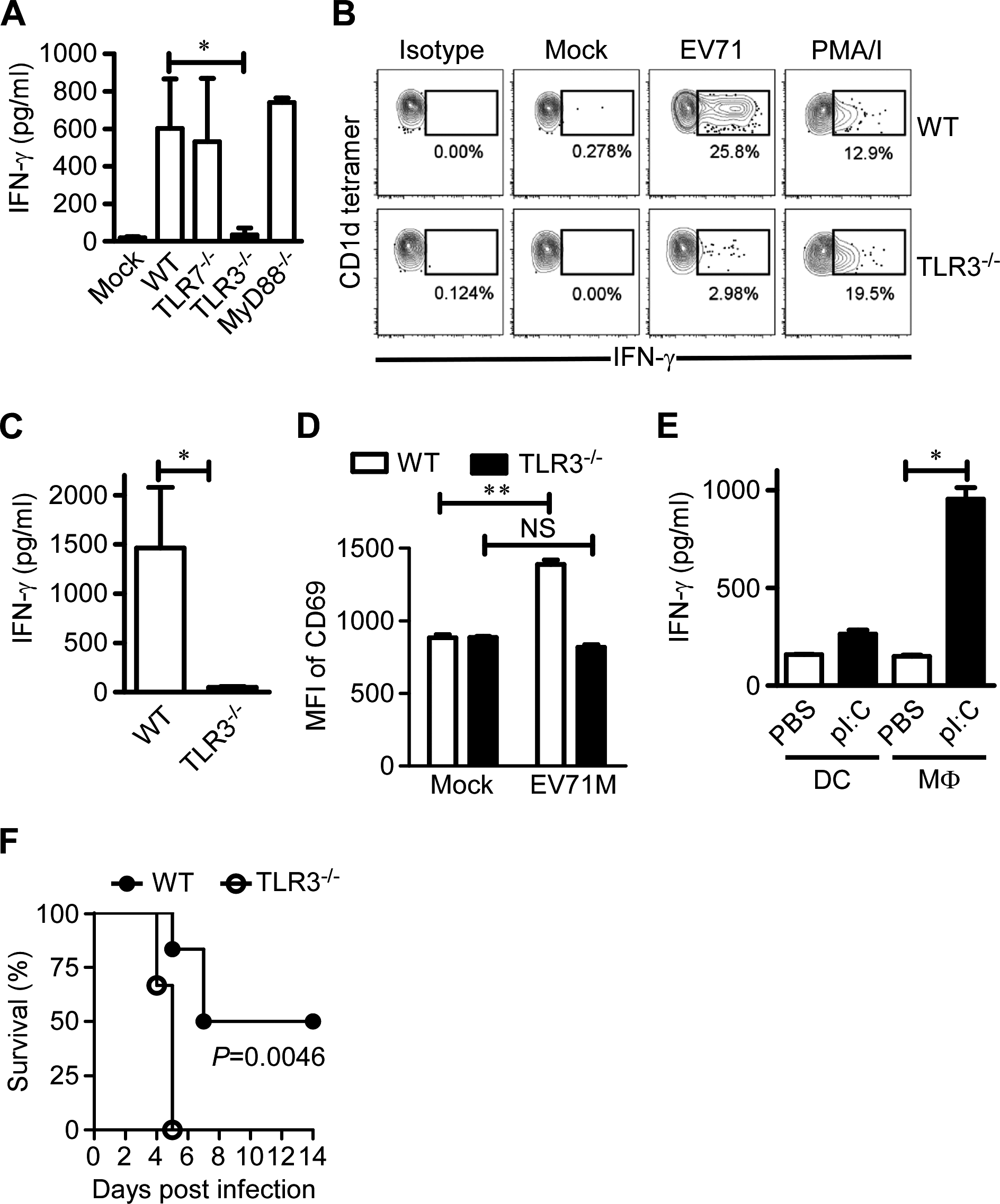 TLR3 is indispensable for iNKT cell activation in EV71 infection.