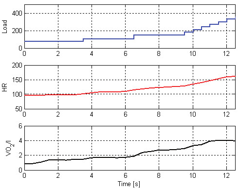 Fig. 4: Workloads [in W] and corresponding HR (heart rate) and VO<sub>2</sub> [l/min] during CPET (male cyclist, 57 years).