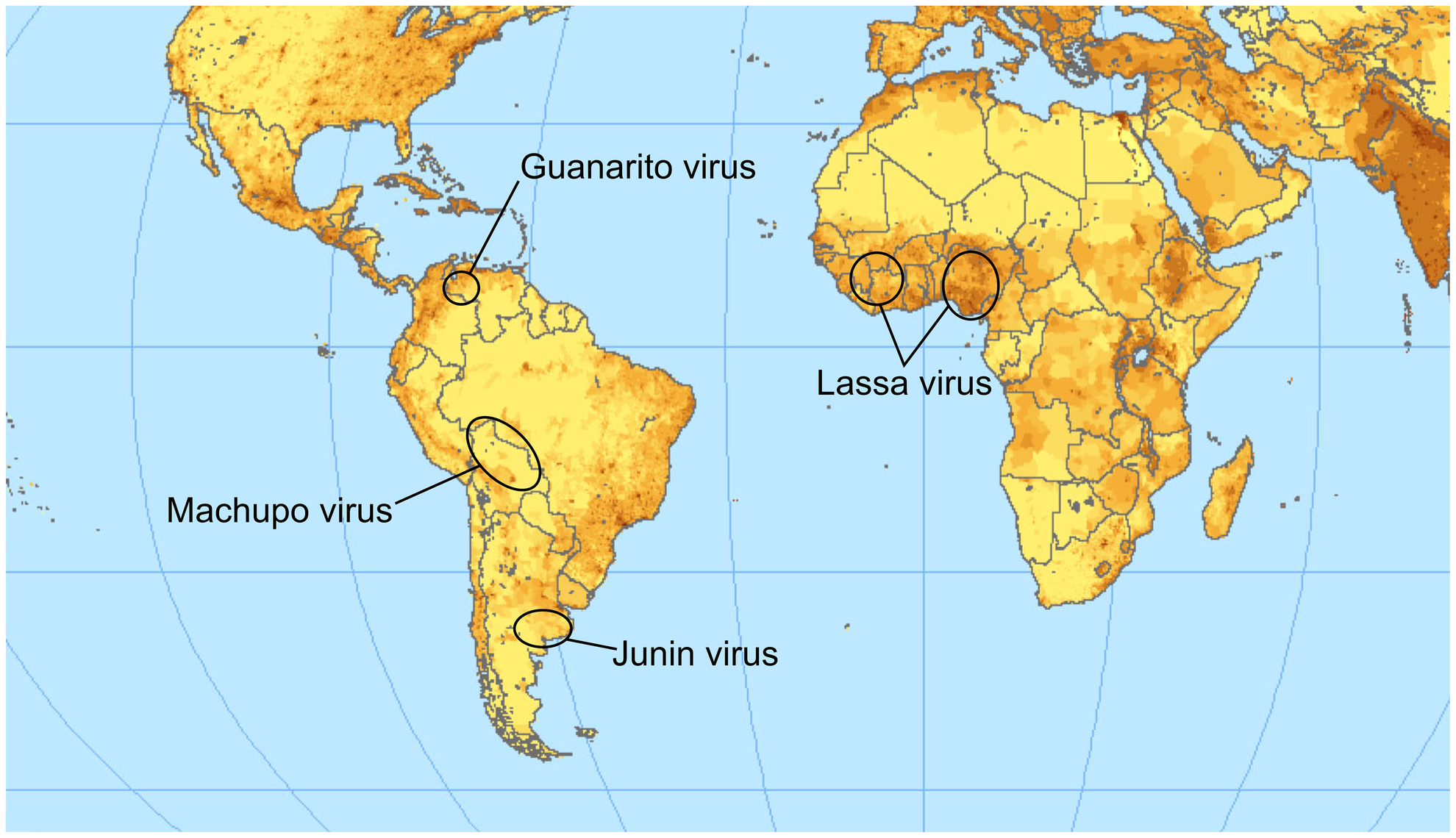 Endemic regions for the pathogenic arenaviruses mentioned in the text.