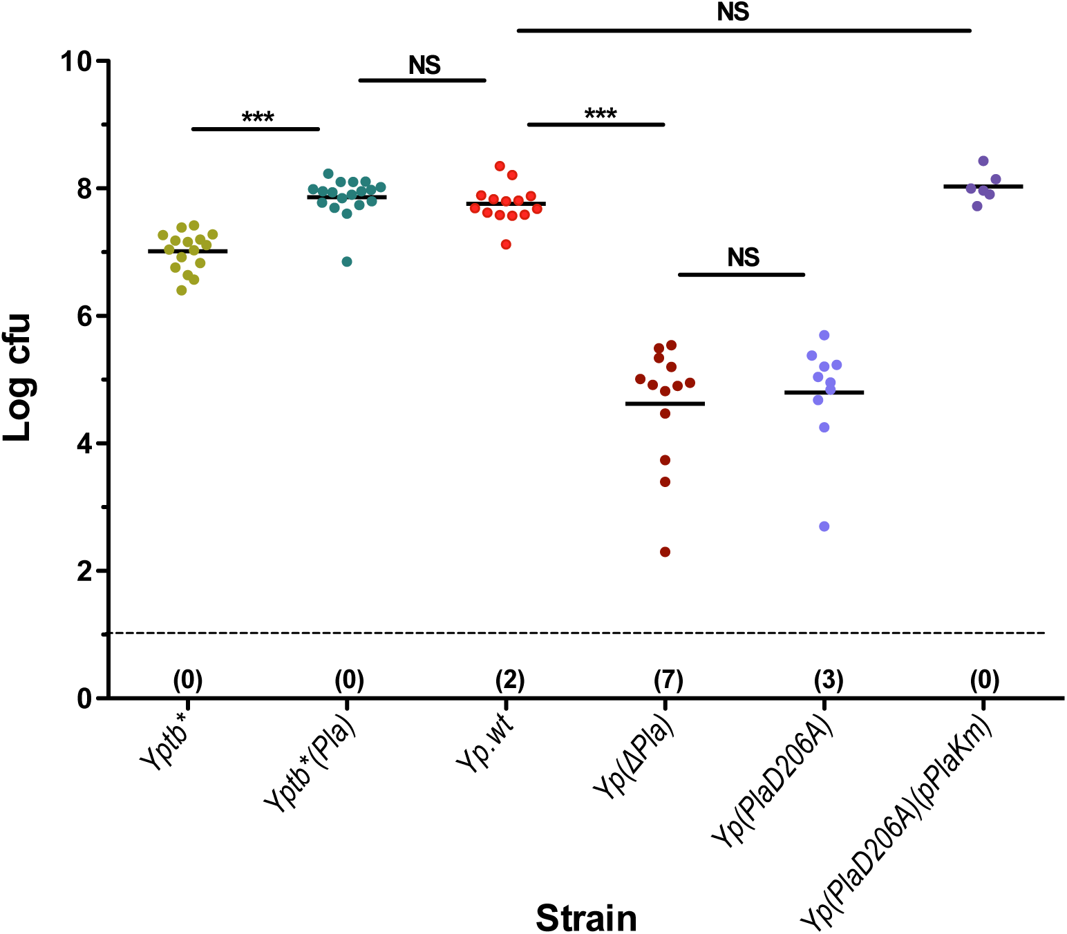 dLN colonization by <i>Yersinia</i> strains differentially expressing the proteolytic activity of Pla.