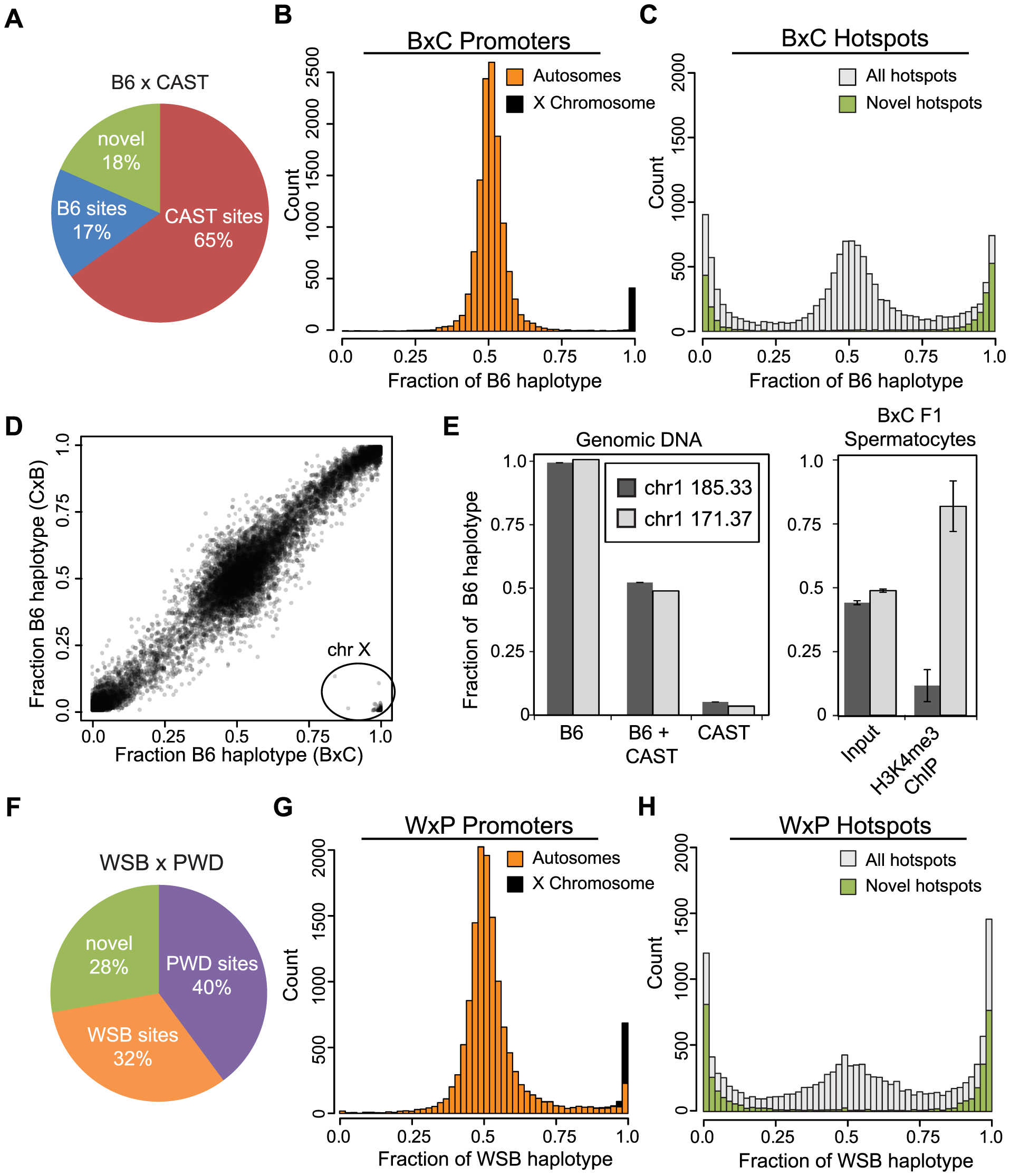 Novel hotspots have biased H3K4me3 modification.