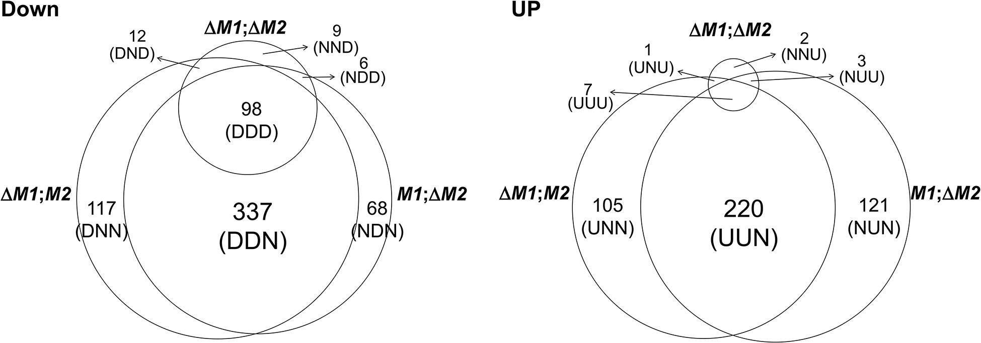 Number of genes expressed differentially in the <i>F</i>. <i>graminearum</i> strains deleted for the <i>MAT1-1</i> locus (0394<i>M1</i>;<i>M2</i>), <i>MAT1-2</i> locus (<i>M1</i>; Δ<i>M2</i>), and both <i>MAT1-1</i> and <i>MAT1-2</i> loci (Δ<i>M1</i>; Δ <i>M2</i>) compared to their wild-type progenitor Z3643.