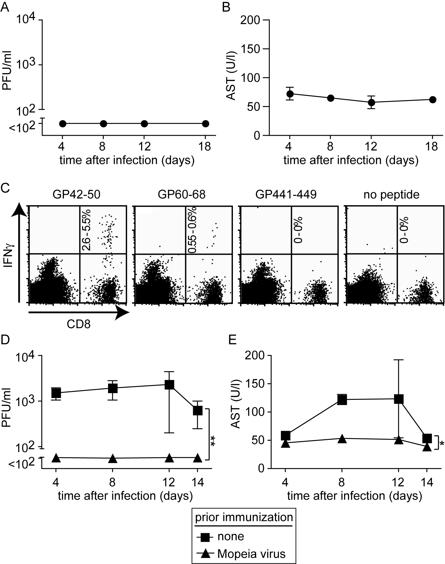 Mopeia virus (MV) infection is apathogenic in HHD mice but elicits LASV-specific HLA-A2.1-restricted CD8<sup>+</sup> T cells and protects against subsequent LASV challenge.