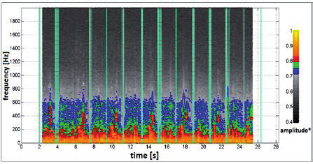 Fig. 3: The frequency spectrum of sound recording of patient's breath. The pale blue vertical lines indicate moment of transitions between inspiration and expiration phase. The lines repeat in 2 sec. time interval. It corresponds to the length of respiratory cycle (inspiration + expiration) for ordinary human in defined age.