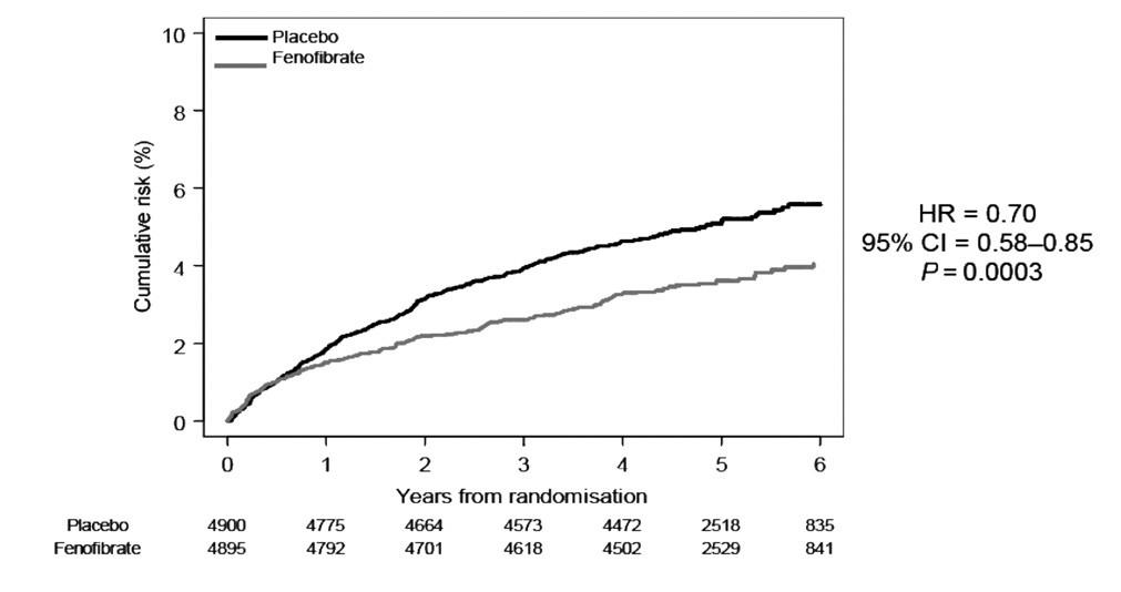Laserová terapie retinopatie ve studii FIELD Fenobibrate – fenofibrát, Cumulative risk – kumulaticní riziko, Years from randomisation – roky od randomizace