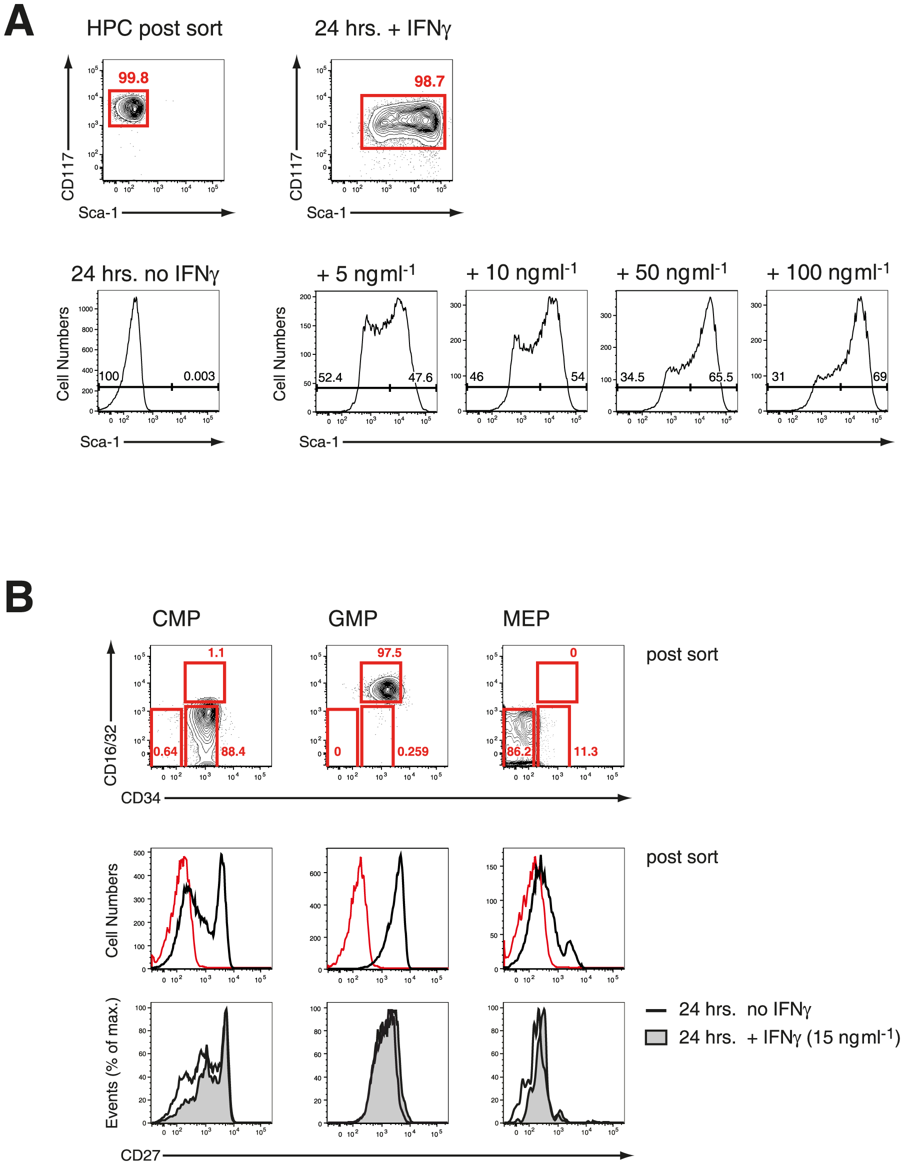IFN-γ in vitro effectively upregulates Sca-1 on HPCs without affecting expression of CD27.