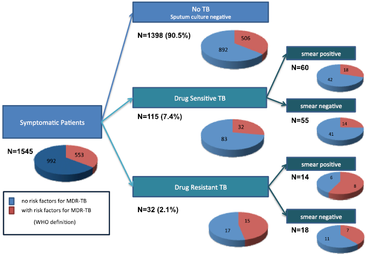 Symptomatic patients with multidrug-resistant tuberculosis risk factors for each group