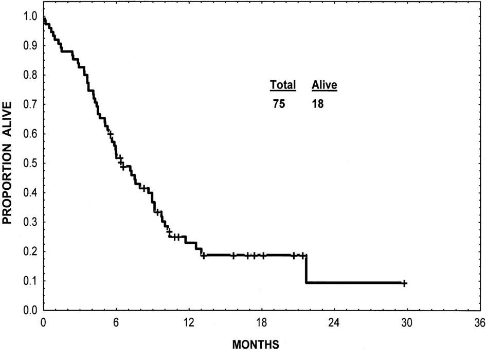 Přežití nemocných v blastické krizi CML léčených imatinibem. Upraveno dle Kantarjian et al. (9).