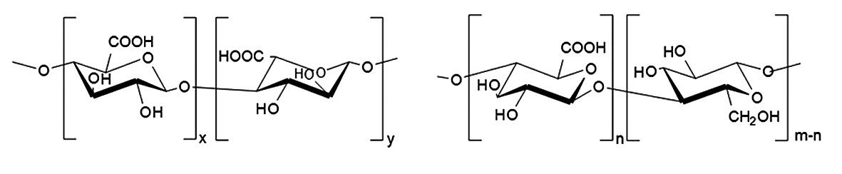 Strukturní vzorce (a) kyselina alginová, (b) oxycelulosa