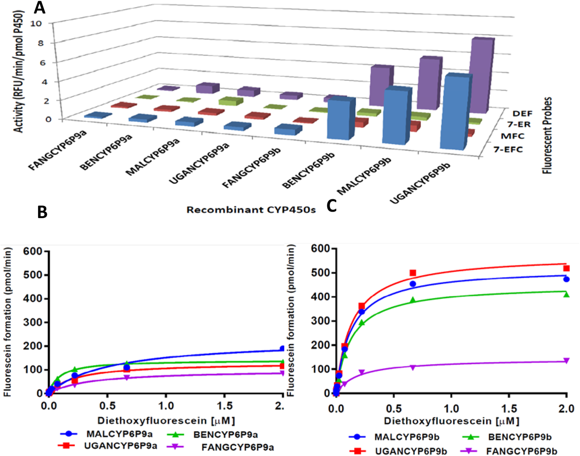 Metabolism of probe substrates by various recombinant CYP6P9a and CYP69b proteins.