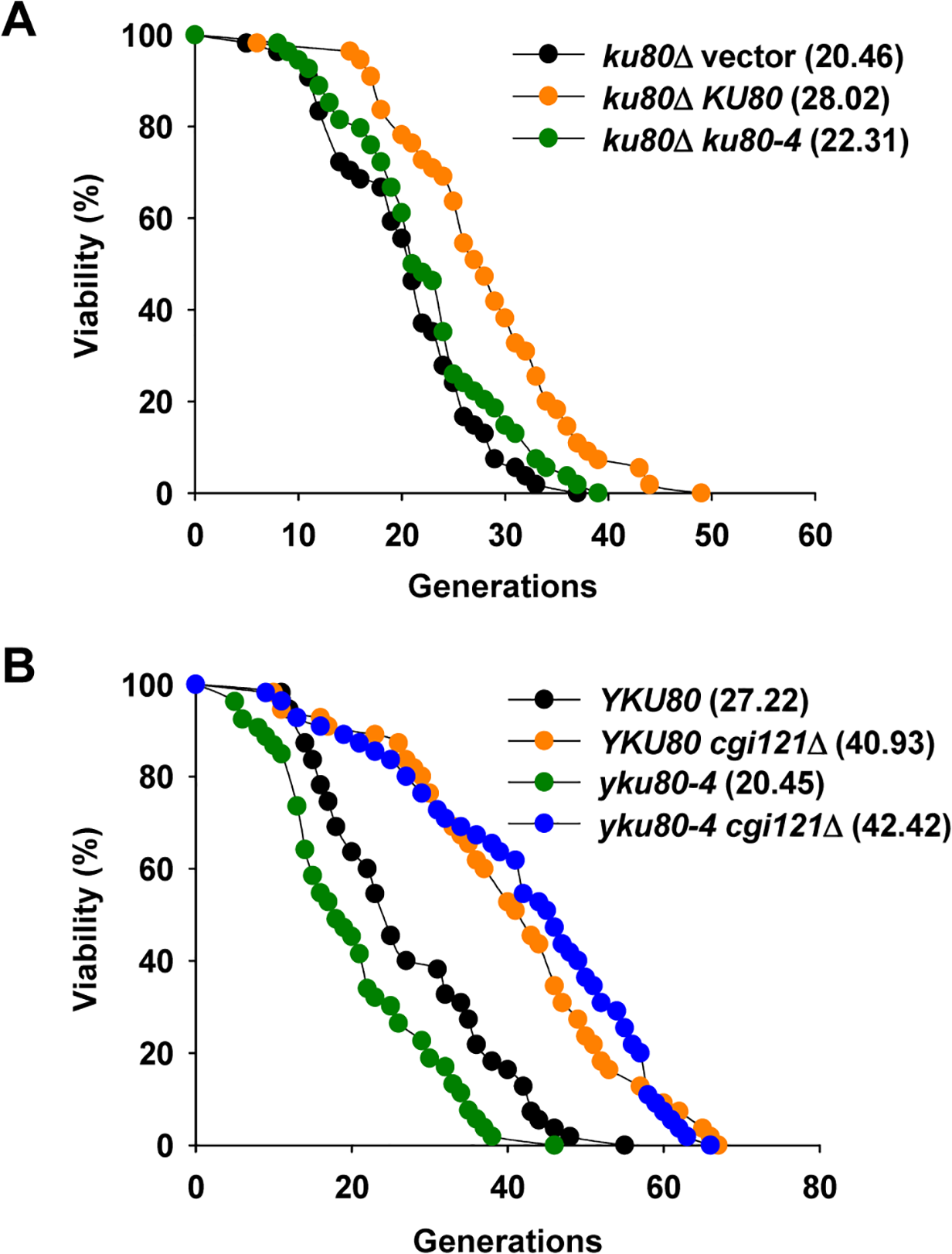 Inactivation of <i>CGI121</i> extends lifespan of <i>yku80-4</i> cells.