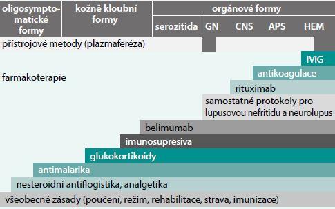 Schéma. Léčebné postupy používané v terapii SLE a jejich schematická indikace. Upraveno dle [29]