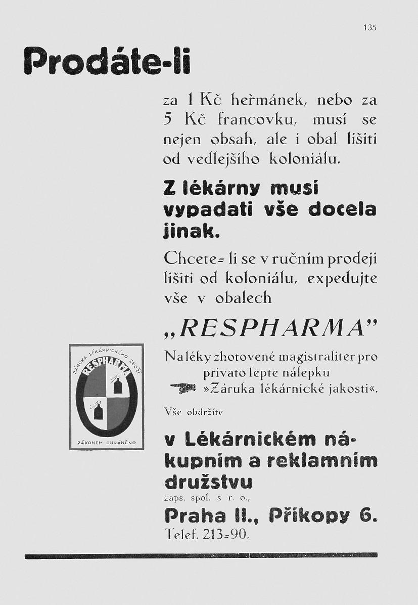 Celostránkový inzerát – Věstník Svazu československého lékárnictva/Lékárnický týdeník 1936; 29/17, č. 9, s. 135