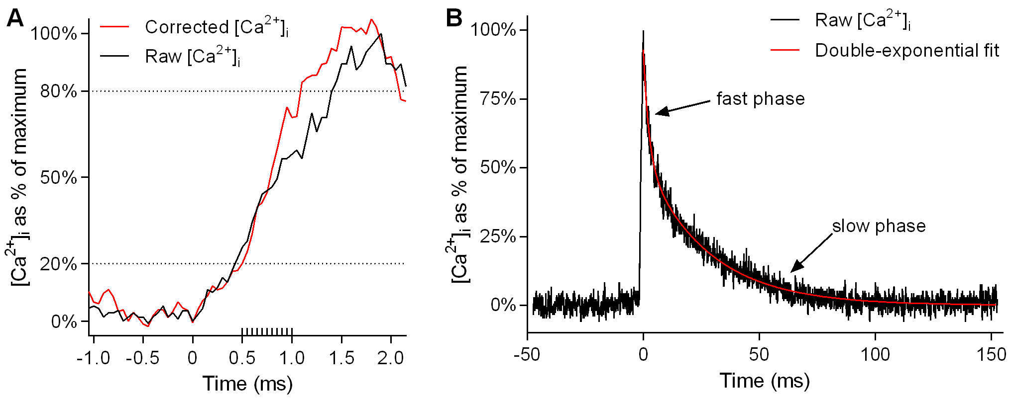 Kinetic correction of rise time and exponential fitting of twitch transient decay.