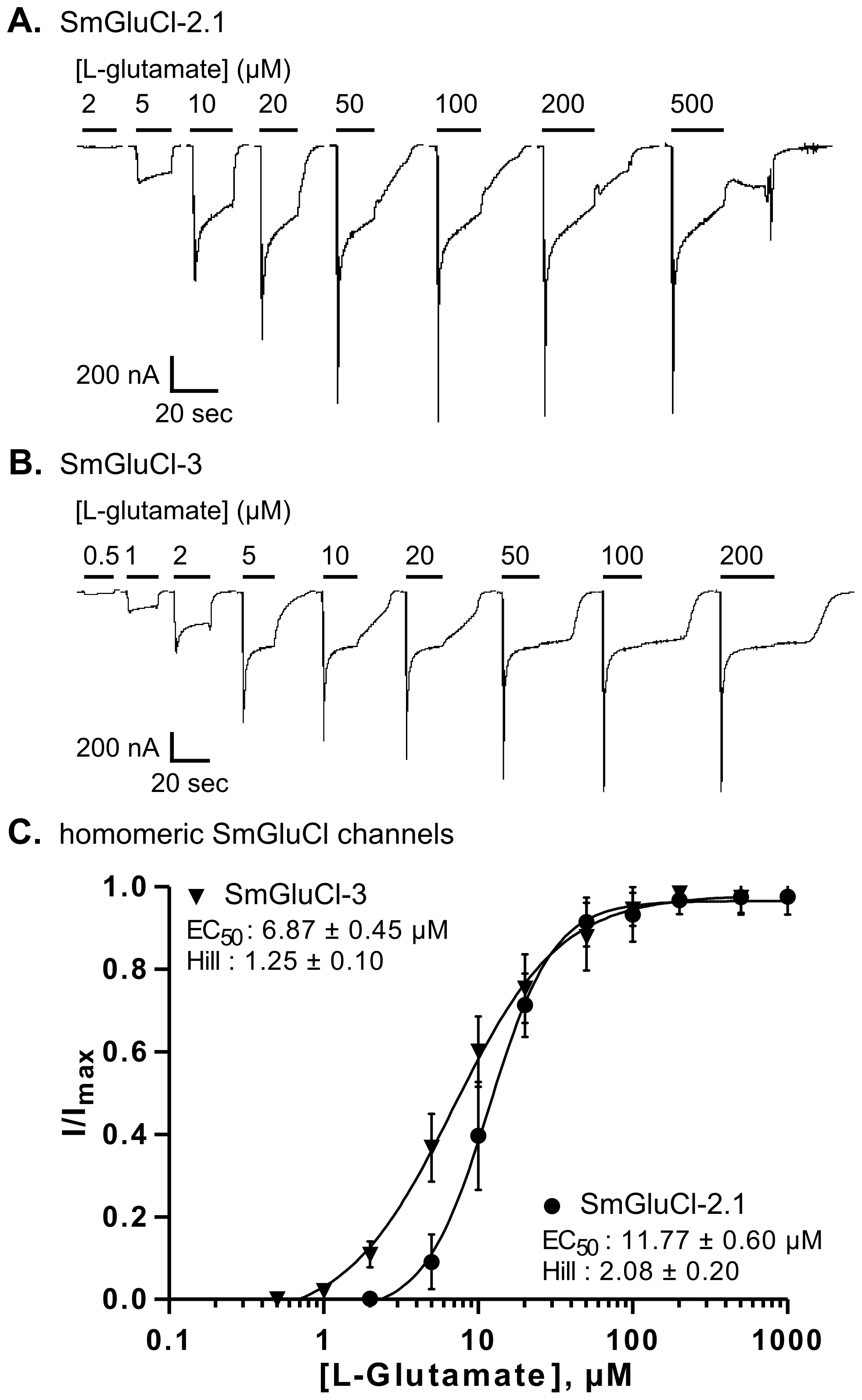 L-glutamate concentration-response relationships of SmGluCl-2.1 and SmGluCl-3 homo-oligomers in <i>Xenopus</i> oocytes.