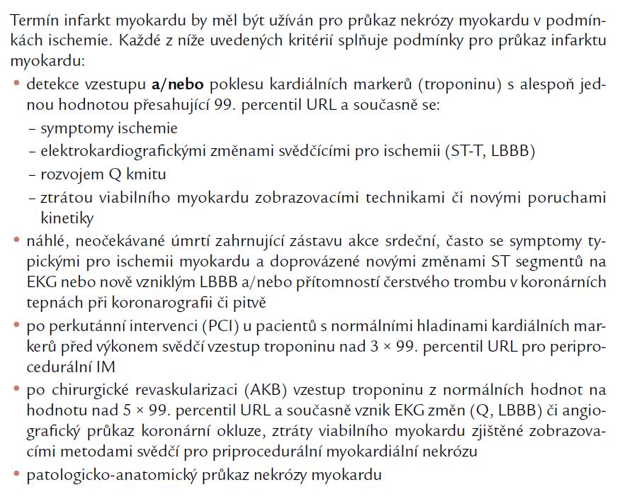 Kritéria pro diagnózu akutního infarktu myokardu.