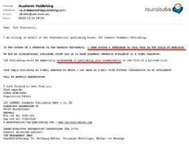 E-mail s výzvou k publikování disertační práce jako monografie