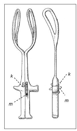 Shuteho paralelní forceps. Vyobrazení převzato a upraveno z patentového spisu dostupného na http://www.freepatentsonline.com/D430671.pdf